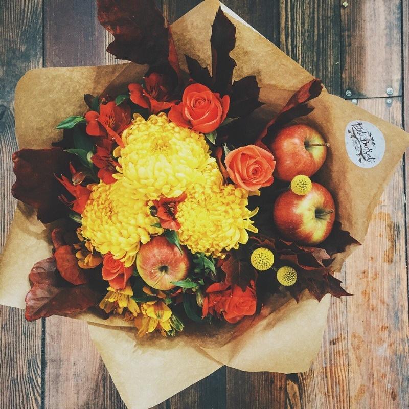 Осінній букет з хризантем
